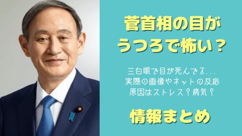 菅義偉首相の目がうつろで怖い,三白眼の画像